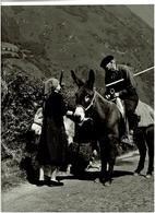PHOTOGRAPHIE ORIGINALE VALLEE D'ASPE Près De BEDOUS De 1963 PAYSANS,ANES  ( Une Rencontre ) SUPERBE CLICHE, VOIR SCANS - Lieux
