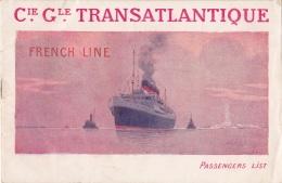 DEPLIANT CIE GENERALE TRANSATLANTIQUE LA TOURAINE DEPART LE HAVRE 30 06 1920 LISTE DES PASSAGERS - Dépliants Touristiques