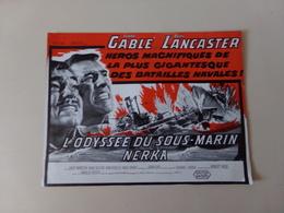 """Publicitaire """" L'odyssée Du Sous-marin Nerka """" Avec Clark Gable Et Burt Lancaster - Cinema Advertisement"""