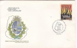PROTEJA EL MEDIO AMBIENTE, EVITE INCENDIO. FDC. OBLITERE 1990. CORREOS DE URUGUAY- BLEUP - Uruguay