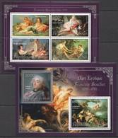 S123 2013 BENIN PRIVATE ISSUE EROTIC ART SILVER FRANCOIS BOUCHER 1KB+1BL MNH - Art