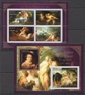 S125 2013 BENIN PRIVATE ISSUE EROTIC ART GOLD JEAN-HONORE FRAGONARD 1KB+1BL MNH - Art