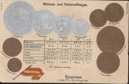 CPA Münzer Und Nationalflagge Monnaie Drapeau Espagne Conversion Pièces Spanien Peseta Centimos HSM H.S.M. - Monnaies (représentations)