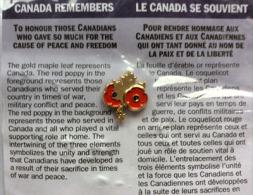 """CANADA:""""Vétérans Canadiens"""".Hommage à Ceux Tombés à La 1 ère Guerre Mondiale. Pin Officiel:Feuille D'érable & Coquelicot - WW1"""