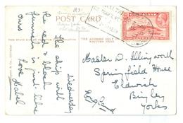 1931, Gibraltar Stamp, Slogan Postmark, On Gibraltar Bay View Pc. - Gibraltar