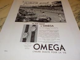 ANCIENNE PUBLICITE FRACTION DE SECOND  MONTRE OMEGA 1938 - Bijoux & Horlogerie