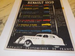 ANCIENNE PUBLICITE VOITURE   RENAULT  1939 - Camions