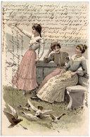 Femmes Et Pigeons  - Art Nouveau - Genre Viennoise  (107753) - 1900-1949
