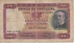 BILLETE DE PORTUGAL DE 50 ESCUDO DEL AÑO 1944  (BANKNOTE) RARO - Portugal