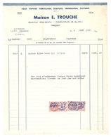 Facture Maison E. Trouche, Rognonas, Emballages, Papiers, écriture, Impression, Timbres Fiscaux - France