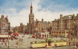 AQ65 Town Hall And Talbot Square, Blackpool By Brian Gerald - Tram, Bus, Shops - Blackpool