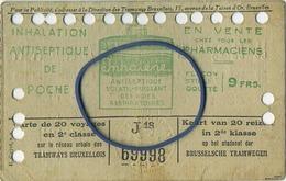 OLD TRAM Ticket 1936 Brussel Bruxelles:Tramways -tramwegen De Classe:carte De 20 Voyages-reizen ( See Scans) 11 X 7 Cm - Transportation Tickets