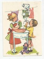 Mignonnette Enfants.Lessive, Bulles, Poupée. Signé Otte - Devotieprenten