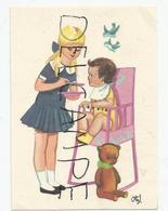 Mignonnette Enfants.Petite Fille Nourrit Un Bébé. Oiseaux, Nounours. Signé Otte - Andere