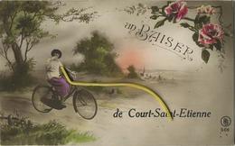 Court-Saint-Etienne : Un Baiser - Velo  ( Ecrit Avec Timbre )   Etat Parfait Super - Court-Saint-Etienne