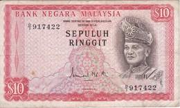 BILLETE DE MALASIA DE 10 RINNGIT DEL AÑO 1976 (BANKNOTE) - Malasia