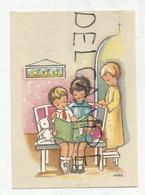 Mignonnette Enfants.Trois Enfants Lisent Un Livre Biblique, Nounours, Poupée. Signé Ivers. - Santini