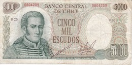 BILLETE DE CHILE DE 5000 ESCUDOS DEL AÑO 1976     (BANKNOTE) - Chile