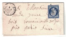 1886 - LETTRE LAC OBLITERATION PC 3134 CAD TYPE 14 De SAINT ST JULIEN DU SAULT (YONNE) NAPOLEON N°14 ROMAINVILLE PARIS - Postmark Collection (Covers)