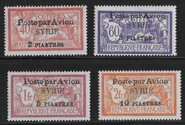 SYRIE - POSTE AERIENNE YVERT N° 18/21 *- COTE = 24 EUROS - CHARNIERES CORRECTES - Unused Stamps