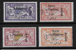 SYRIE - POSTE AERIENNE YVERT N° 22/25 *- COTE = 32 EUROS - CHARNIERES CORRECTES - Unused Stamps