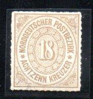 Conf. De L'Allemagne Du Nord  / N 11 / 18 K Bistre / NEUF Avec Trace De Charnière  / Côte 50 € - Conf. De L' All. Du Nord