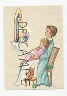 Mignonnette Enfants.Deux Filles En Prière Devant La Vierge, Nounours, Ballon. Signé Ivers. - Santini