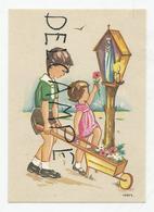 Mignonnette Enfants.Deux Enfants Offrent Des Fleurs à La Vierge, Brouette. Signé Ivers. - Images Religieuses