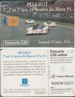F406-988 TELECARTE PEUGEOT 120 U SAMEDI 16 H  93/07  GEM1 COTE 28€ - France