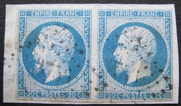 R1752/553 - NAPOLEON III (PAIRE) N°14A ☛ PC 3756 (BUREAU SUPPLT) GUELMA (ALGERIE) INDICE 14 (sur Fragment) - 1853-1860 Napoléon III