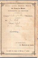 Bordeaux Bastide (33 Gironde) Prix De L'ecole Lbre Ste Marie (PPP14148) - Diplome Und Schulzeugnisse