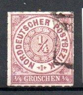 Conf. De L'Allemagne Du Nord  / N 1 /  1/4 G Lilas / Oblitéré / Côte 18 € - Conf. De L' All. Du Nord
