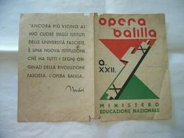 PAGELLA OPERA BALILLA SCUOLA BRENNO USERIA ARCISATE MALNATE VARESE  SORELLA 1944 - Diplomi E Pagelle