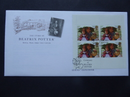 GREAT BRITAIN [UK] SG DX15 POSTMARK CENTENARY OF BEATRIX POTTER BOOKLET PANR GLOUCESTER FDC - FDC