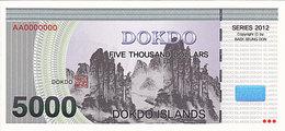 Specimen Île DOKDO Corée 5 000 Dollars 2012 UNC - Fictifs & Spécimens