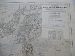 BAIE DE LA ROCHELLE : Ports De La ROCHELLE-PALLICE - ROCHELLE-VILLE - EST De L'ILE De RE - Echelle : 1/15000 -1965 - Geographical Maps