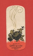 Petite Carte Parfum Offrande Cheramy Paris, Dimensions 7,5 Cm X 3 Cm - Oud (tot 1960)