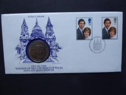 GREAT BRITAIN [UK] SG 1160-61 ROYAL WEDDING COIN COVER POSTMARK LONDON 1981 - FDC