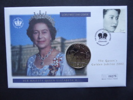 GREAT BRITAIN [UK] SG 2253 GOLDEN JUBILEE STUDIO PORTRAITS OF QUEEN £5 COIN COVER POSTMARK LONDON 1992 - FDC