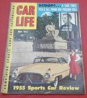 Rare Revue Vintage Automobile Américaine Car Life Mai 1955 Voitures Sports 1955 MG Porsche Maserati Ferrari Aston Martin - Books, Magazines, Comics