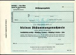 NSDAP Gau Wien, Abstammungsnachweis,Ariernachweis, Gauamt Sippenforschung, Kein Eintrag, Leer, - 1939-45