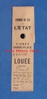 Ticket Ancien Garde Place - Chemin De Fer De L' Etat - TOP RARE - Gare De Paris - Train 2e Classe 1916 Ou 1926 - Non Classés