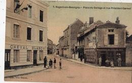 NOGENT-EN-BASSIGNY PLACE DU COLLEGE ET RUE PRESIDENT CARNOT (CARTE TOILE ET COLORISEE) - Nogent-en-Bassigny