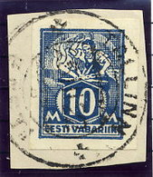 ESTONIA 1922 10 Mk Weaver Imperforate Used On Piece.  Michel 39B - Estonia