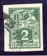 ESTONIA 1922 2 Mk Weaver Imperforate Used.  Michel 34B - Estonia