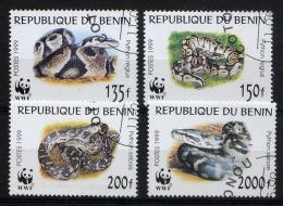 BENIN 1999, Yvert 898/901, WWF, REPTILES PYTHON, 4 Valeurs, Oblitérés / Used. R1421 - W.W.F.