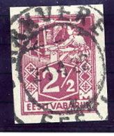 ESTONIA 1922 2½ Mk Weaver Imperforate Used.  Michel 35B - Estonia