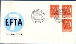 Sweden 1967 EFTA European Free Trade Ass. 1 Horiz.perf. Stamp + Pair From Booklet (45 Ore Güstav) FDC - Europa-CEPT