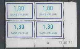 1317 - France - Coin Daté TB Neuf ** Fictif (sans Valeur) N°229 Date 12/10/1981 - Ecken (Datum)