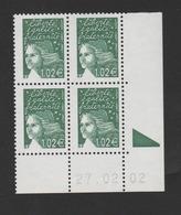 FRANCE / 2002 / Y&T N° 3456 ** : Luquet RF 1.02 € Vert Foncé X 4 - Coin Daté 2002 02 27 - RE - 2000-2009